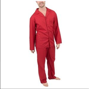 Men's Red Button Up pajama Set w/ top & bottoms